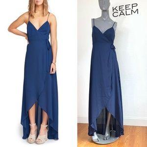 Show Me Your MuMu Mariah Wrap Maxi Dress Blue Navy